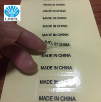 Clear PET Material printing with MADE IN CHINA black font Small size font labels with cheap price