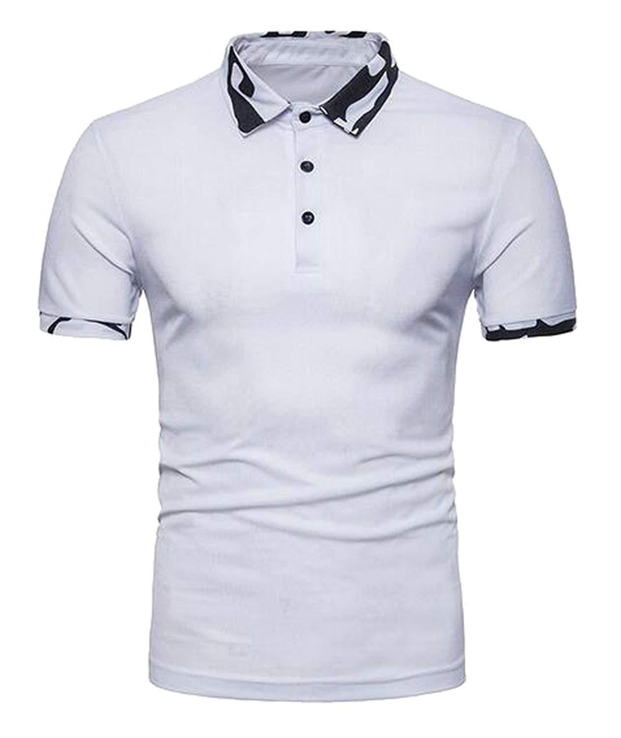 3a7a93496cd Get Quotations · XQS Mens Casual Camo Stitching Short Sleeve Golf Polo  Shirts T-Shirt
