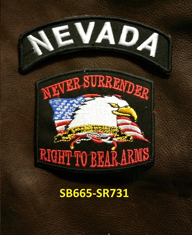 NEVADA and NEVER SURRENDER Small Badges Set for Biker Vest