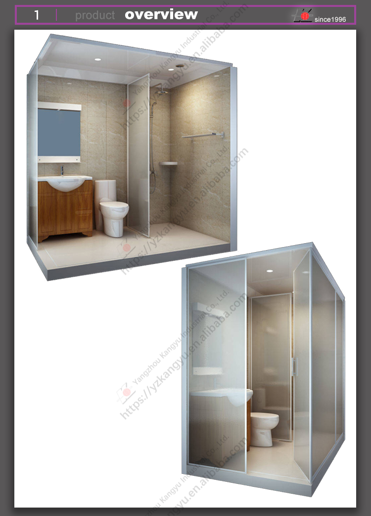 All In One Smc Glass Prefabricated Integrated Unit Bathroom Pods ...