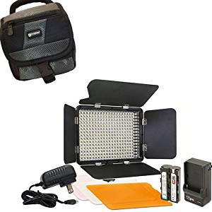Sony PXW-Z150 Camcorder Lighting Vidpro Ultra-Slim LED-330 Professional Video and Photo LED Light Kit-With SDC-27 Case