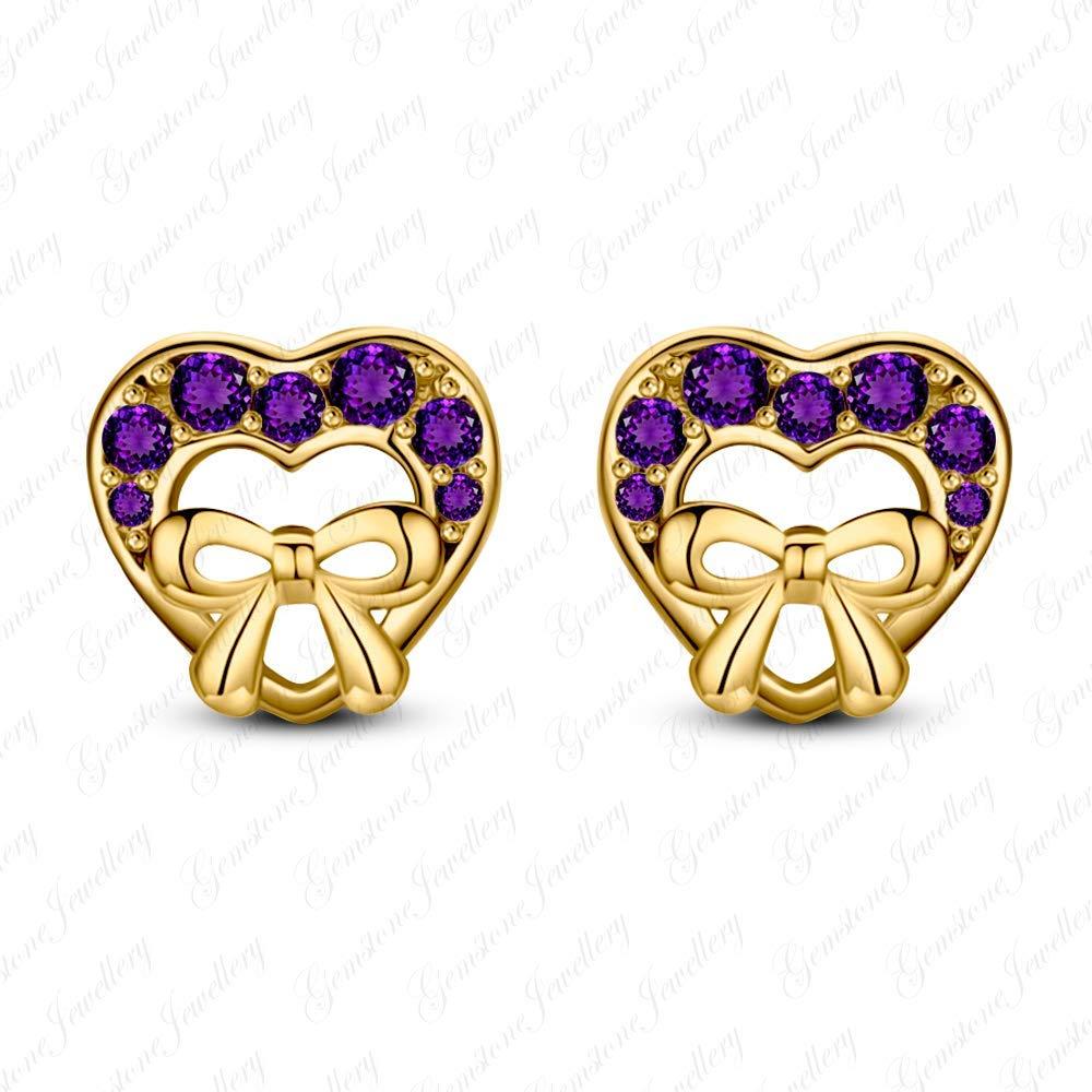 Gemstone Jewellery Fancy Heart Minnie Mouse Stud Earrings In 14k Two Tone Gold Plated Blue Sapphire
