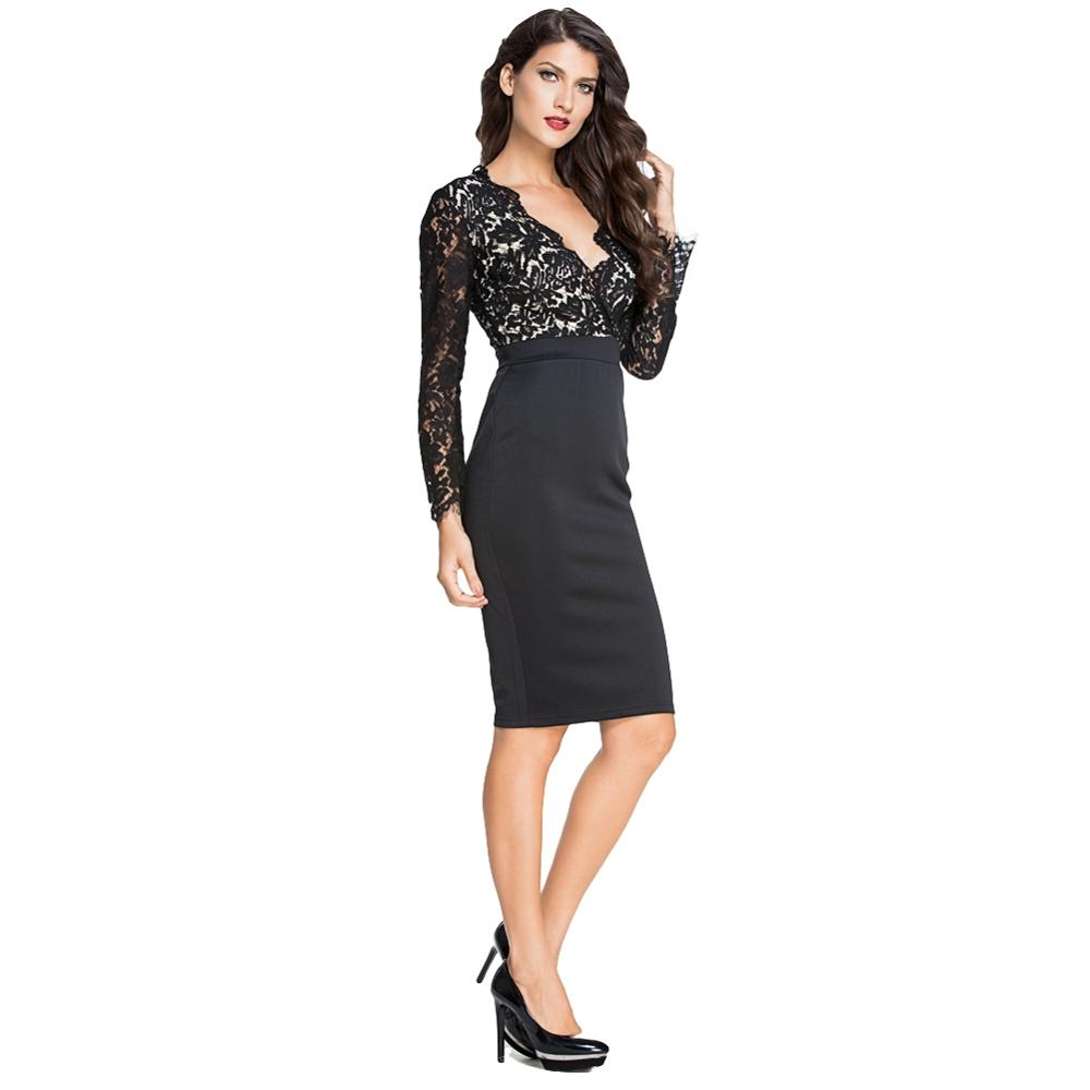 Sexy Women Pencil Dress Lace Splicing V Neck Long Sleeve Bodycon Midi Dress  Cocktail Party Dress 5bce5a917