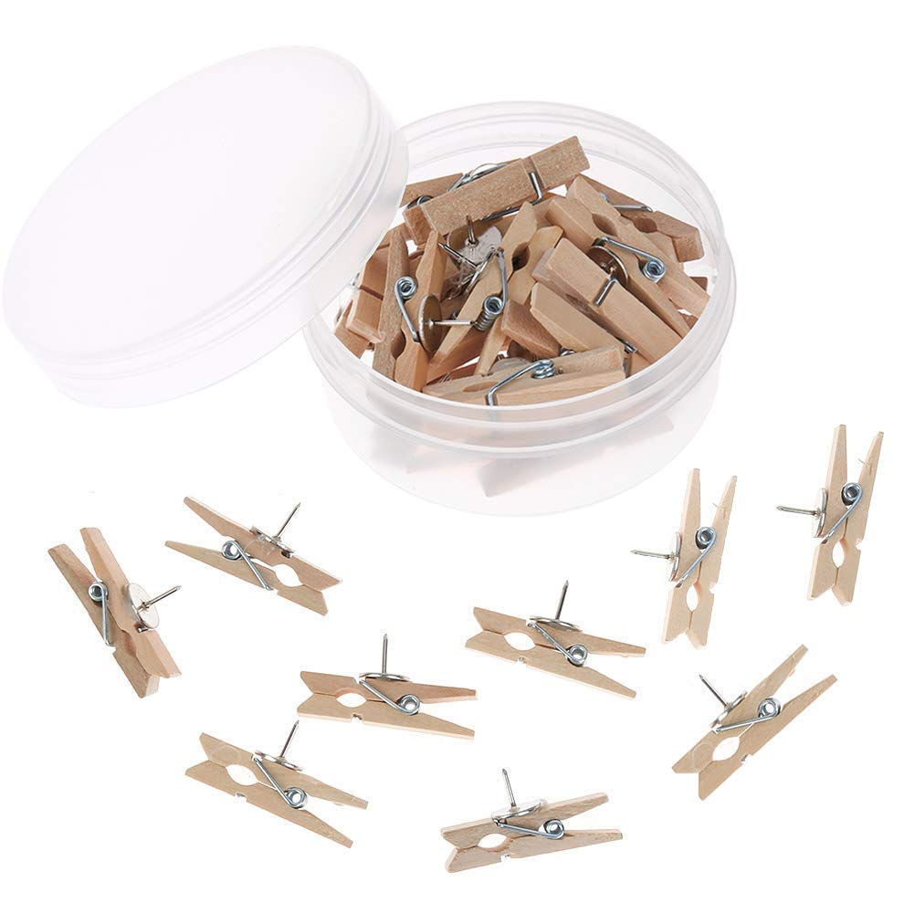 Xinzistar 20 Pieces Push Pins with Wooden Clips Pushpins Tacks Thumbtacks for Cork Boards Artworks Notes Photos and Craft Projects (Brown)