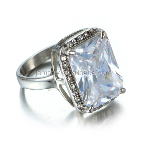 Fashion 925 Sterling Silver Jewelry Wholesale/Rhodium Plated Color Cubic Zirconia Diamond Ring