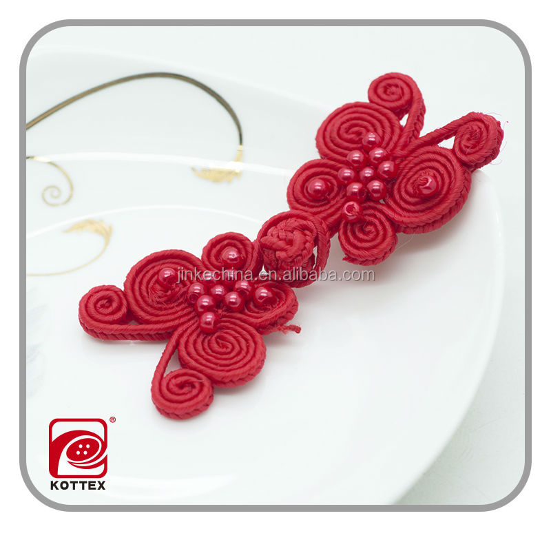 fashion butterfly woven button for women clothing,nylon Chinese knot for garment,woven fabric