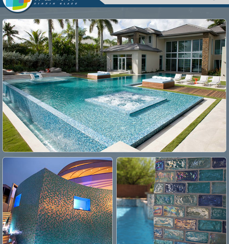 New design swimming pool wall and floor glass mosaic