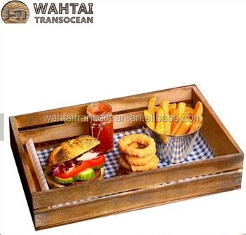 Wooden Food Presentation Crate Fast Food Basket Burger Basket Buy