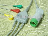 Larsen Toubro 3 leads ECG cable with snap,IEC,1K ohm,round 12pin
