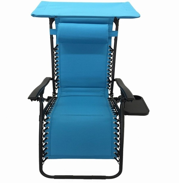 Portable Chair With Canopy : Portable folding beach chair with sun canopy recliner