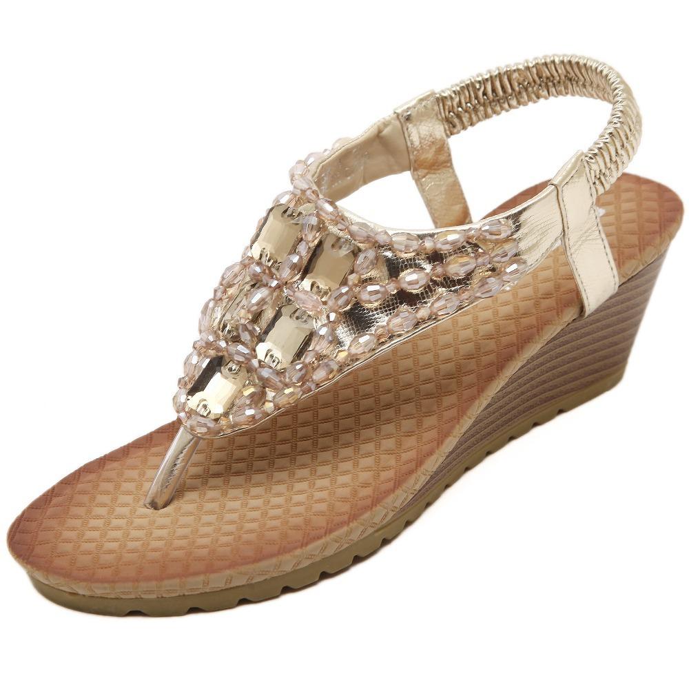 Get Quotations · 2015 Fashion Women s Flip Flops Sandals Gold Silver Women  Beach Slippers Bohemian Sandals Thong Beaded Rhinestone ccd5a61ad0d3