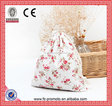 China Manufacturer For Beautiful Flower Jewelry Burlap Pouch White Cotton Canvas Shopping Bag