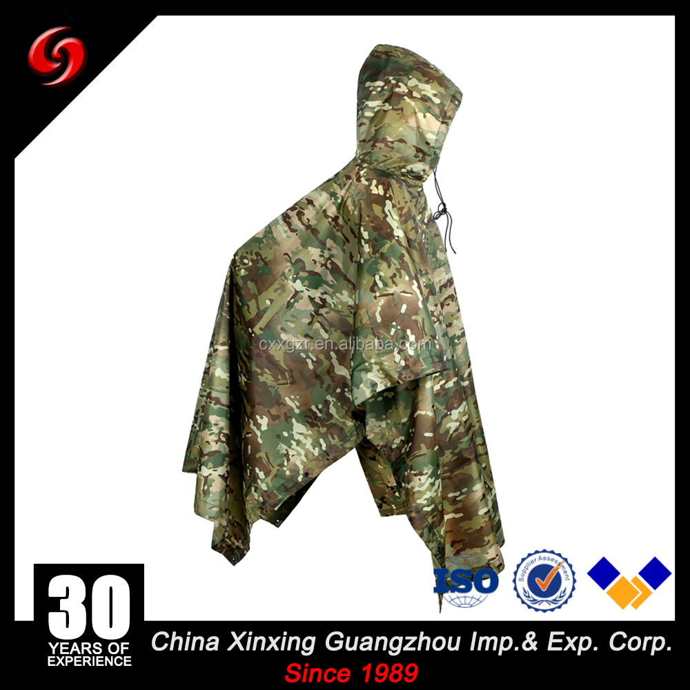 Military Issue Camouflage Durable Waterproof Coated Military Poncho