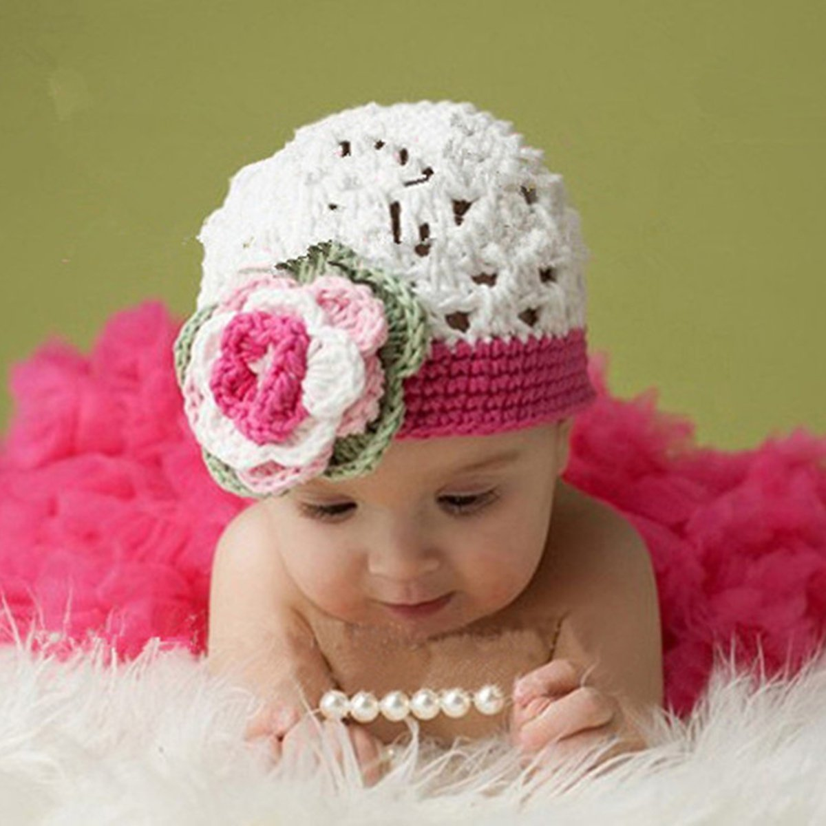 d76178e632e Get Quotations · Pixnor Cute Lace Style Baby Infant Newborn Hand Knitted Crochet  Hat with Skirt Baby Photograph Props
