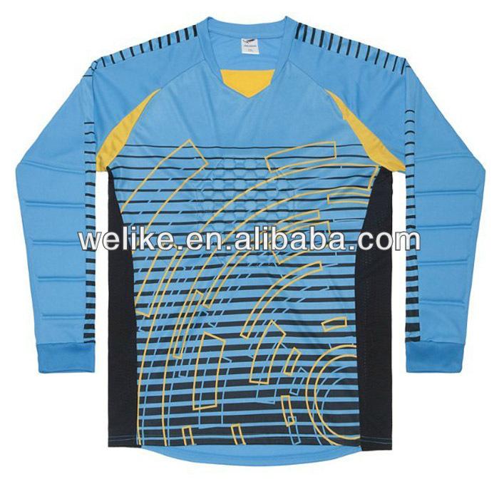e5f9174886e Sky blue custom soccer jersey football goalkeeper wear striped soccer  uniforms from china