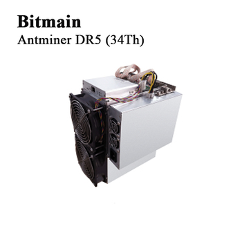 D'asic mineur Bitmain Antminer DR5 (34Th) Blake256R14 DCR machine à creuser Decred machine d'extraction fourmi mineur avec ALIMENTATION