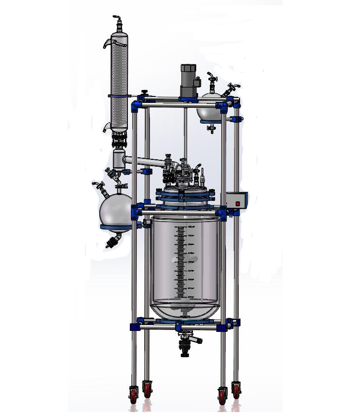 50L 100L 150L 200L pilot batch reactor Jacketed dubbellaags Glas Reactor met rectificatie kolom en condensor uit Toption