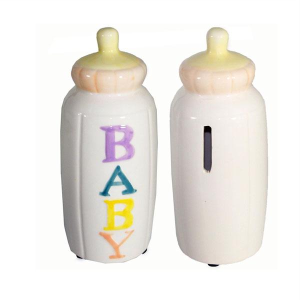 Unique Ceramic Cute Baby Bottle Shape Salt And Pepper Shaker