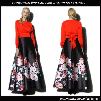 Custom Women Floral Printed Long Skirts For Women,New Latest Women ...