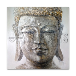 Mixed Media 3D Buddha Oil Painting on Canvas