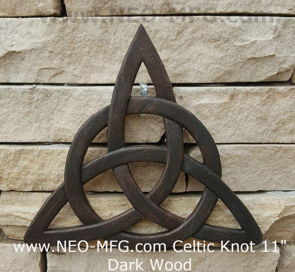 "Celtic decor Trinity Knot Wall Plaque sculpture Irish Neo-Mfg 12"" Dark Wood"