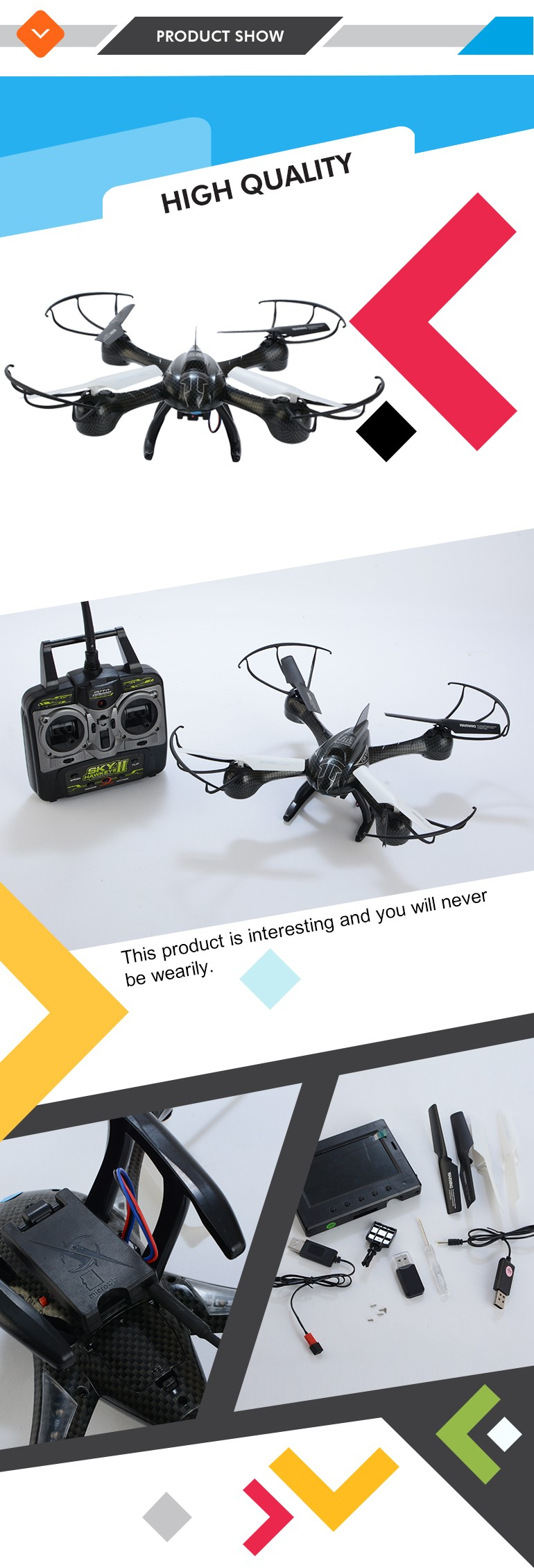 "2017 new popular aerocraft 2.4G 6 axis camera drone with 4.3"" LCD screen"