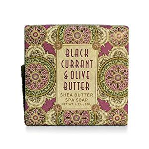 Greenwich Bay Black Currant and Olive Butter Exfoliating Spa Soap - Enriched with Shea Butter, Olive Butter and Black Currant Butter - 6.35 Oz Botanic Vegetable Soap Bar (1 Pack)