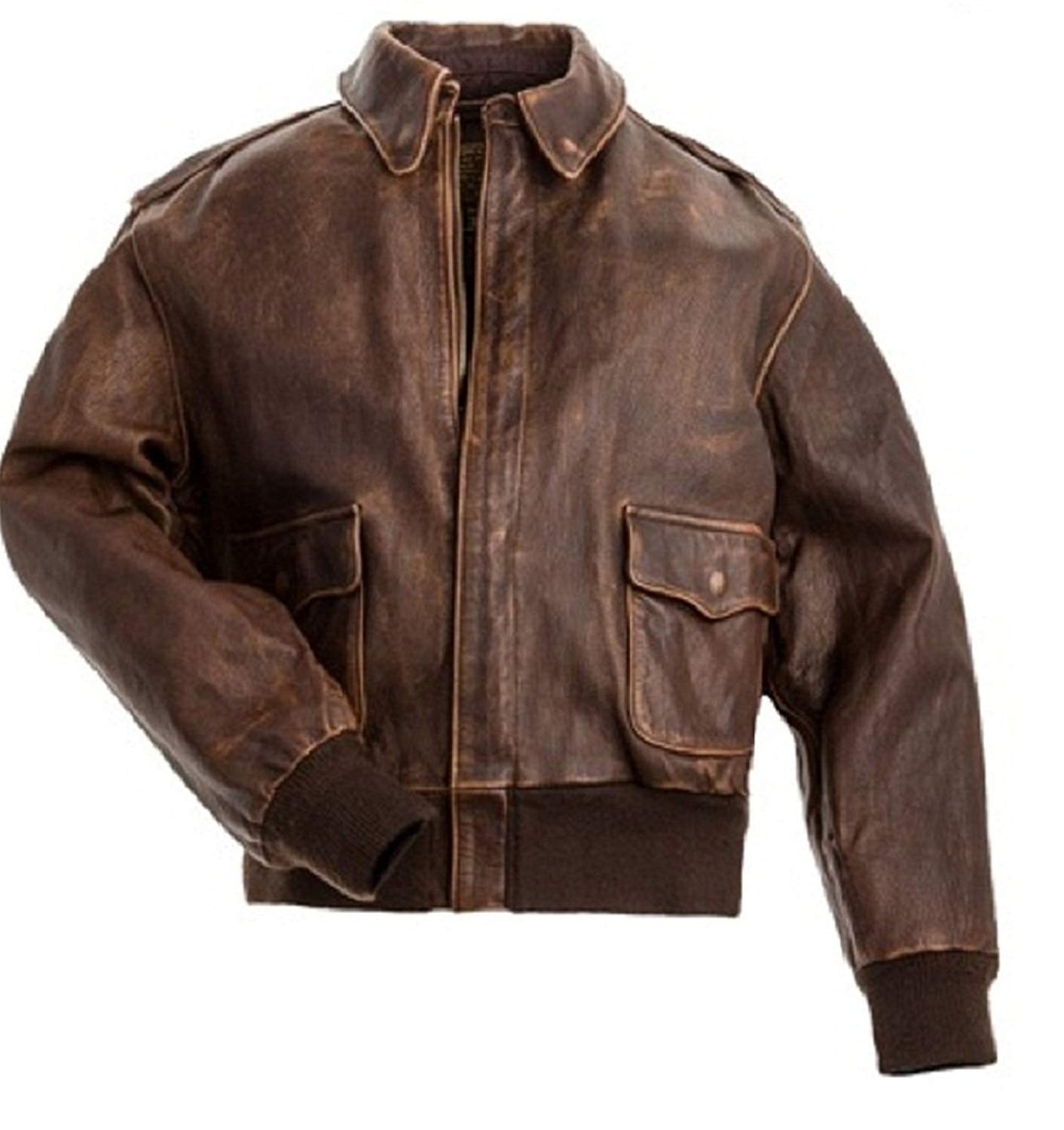 5cde0962d84 Get Quotations · Aviator Men A2 Distressed Brown Real Leather Bomber Flight  Jacket