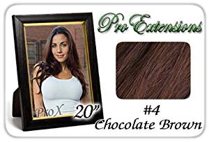 "Pro Extensions 20"" x 39"" #4 Chocolate Brown 100% Clip on in Human Hair Extensions by Pro Extensions"
