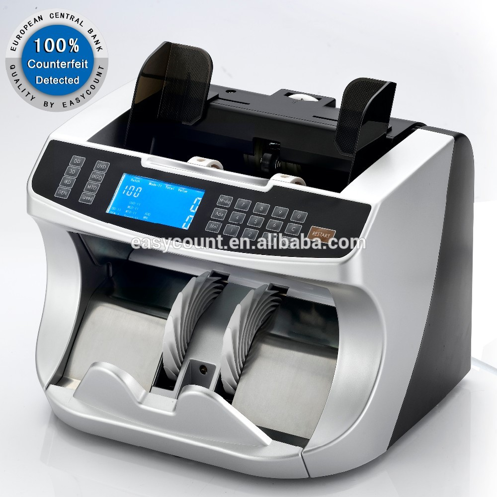 EC960 Multi currency bill counter with UV MG IR fake note detection cash money counting machine