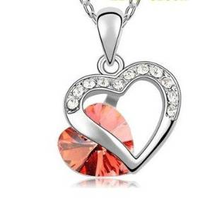 Everbling Double Heart Red Crystal Pendant Necklace 18""