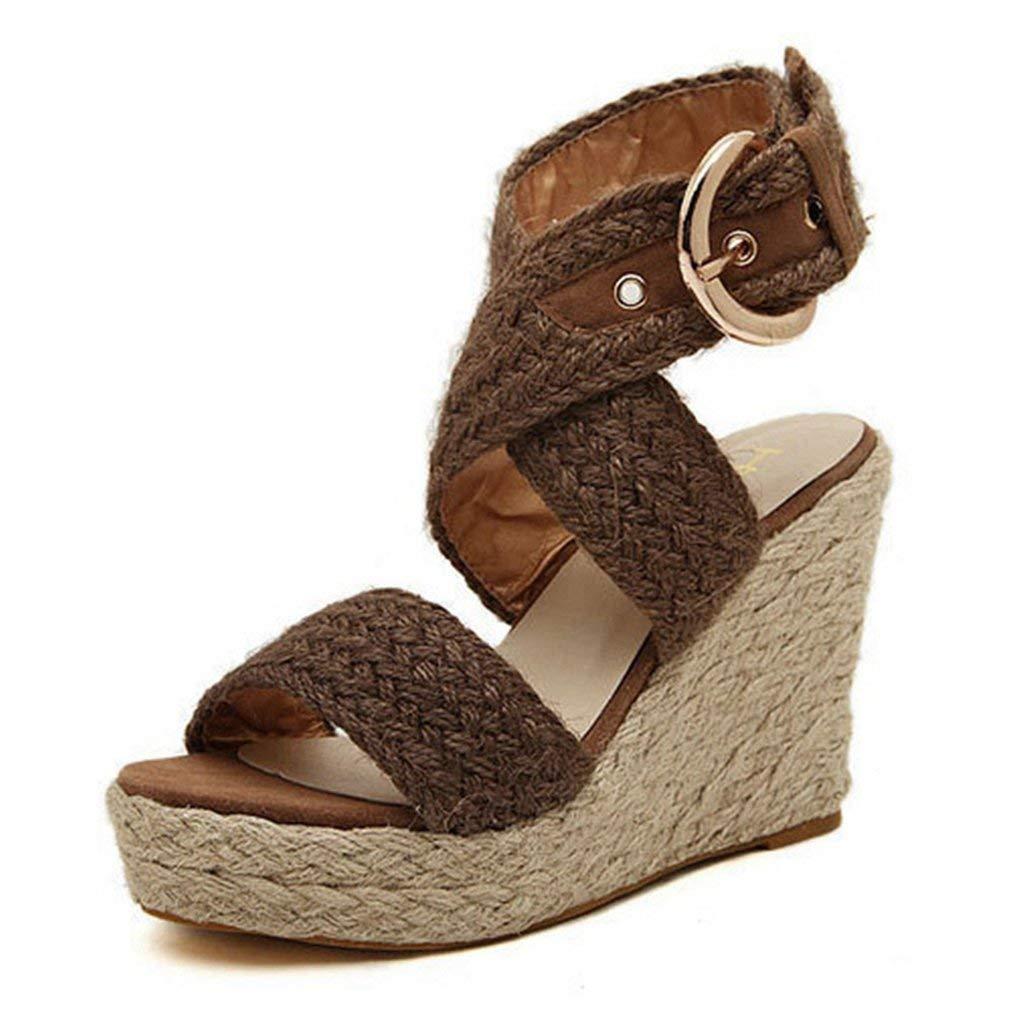 CYBLING Womens Espadrille Wedge Peep Toe Sandals Summer Buckle Ankle Wrap Slingback Platform Shoes