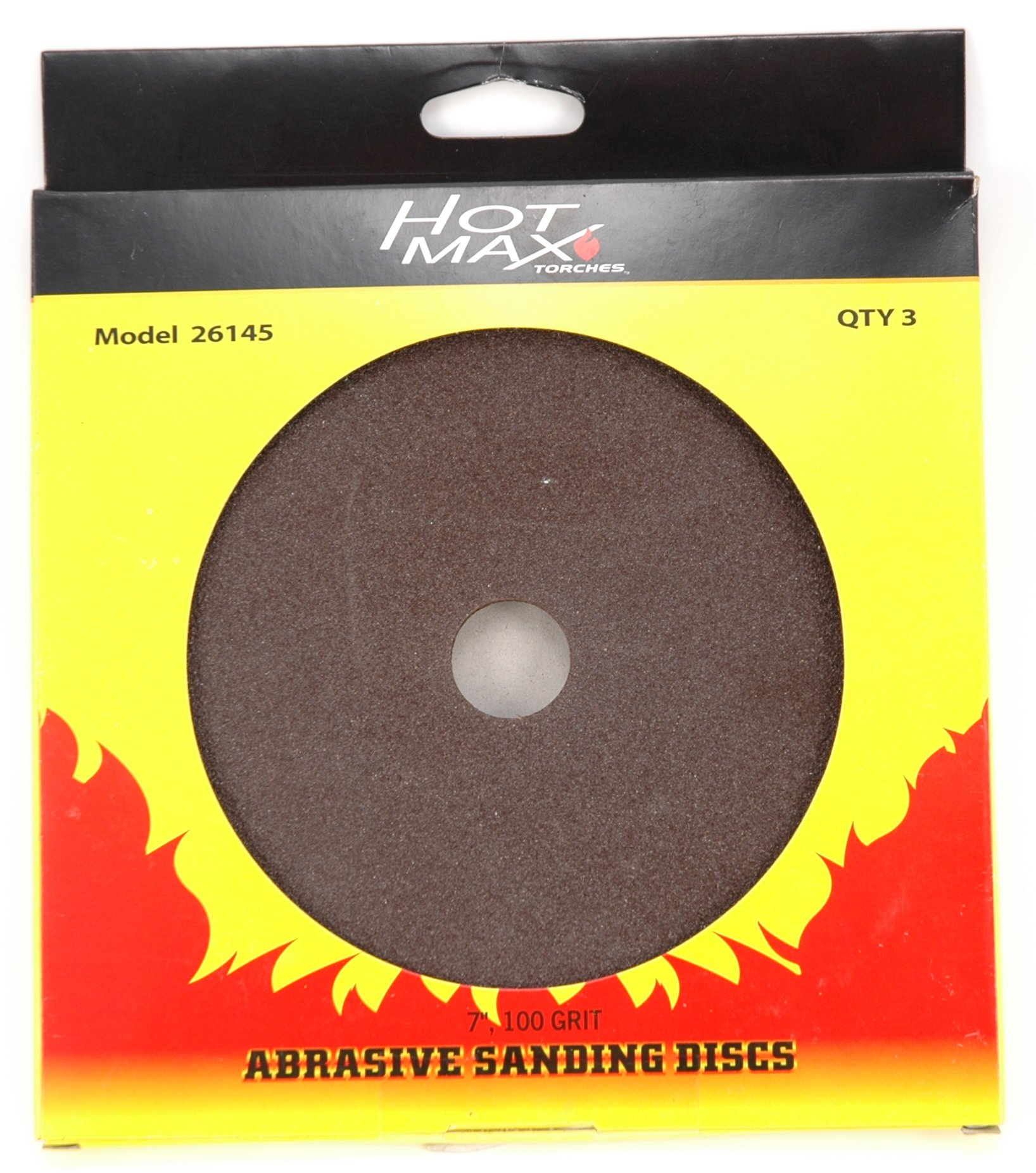 Hot Max 26146 7-Inch 120 Grit Abrasive Sanding Disc with 7/8-Inch Hole, 3-Pack