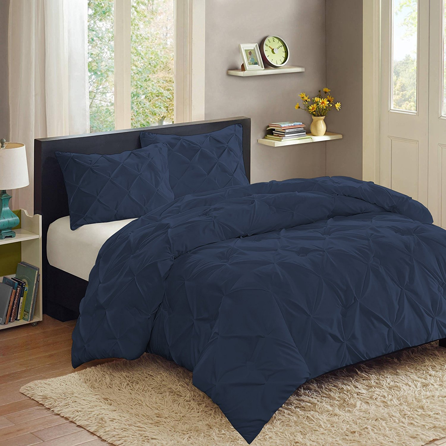 Sweet Home Collection 3 Piece PP Luxury Pinch Pleat Pintuck Fashion Duvet Set, King, Navy