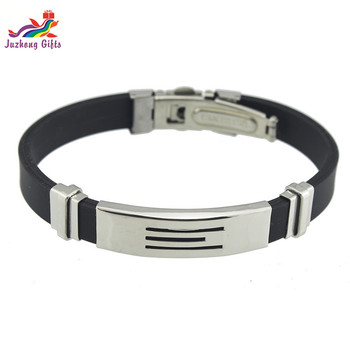 Promotional fashion adjustable silicone bracelet wristband with metal clasp Jewelry