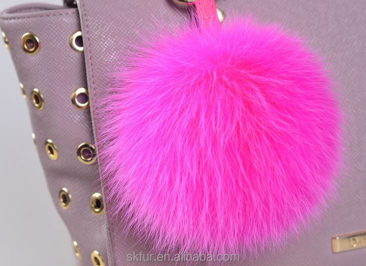 Big and fluffy fox fur ball pom poms key ring pendant
