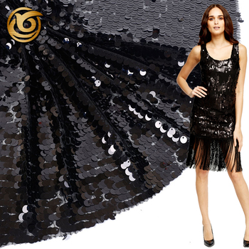 Good quality custom made black reversible sequin fabric tulle