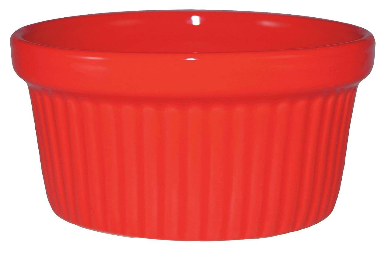 International Technidyne (ITC) - RAMF-4-R - 4 oz. Ceramic Fluted Ramekin, Red