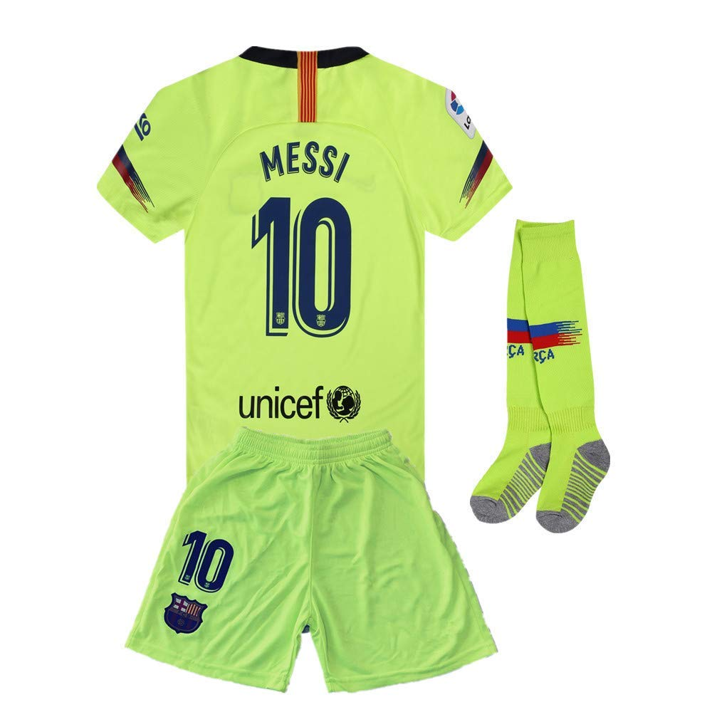 ff18560ab1b Get Quotations · 2018-2019 Away Messi  10 Barcelona Kids Youth Soccer Jersey    Shorts   Socks