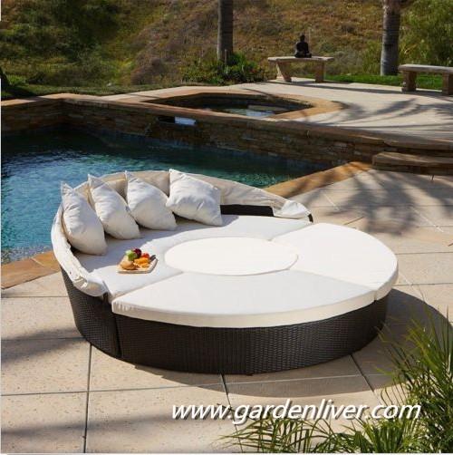 Moderne kd en rotin ext rieur piscine transat prix rond lit baldaquin out - Lit baldaquin exterieur ...