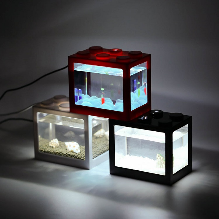 Online Shop China Groothandel Plastic Aquarium Mini Zwart Betta Vis Tanks
