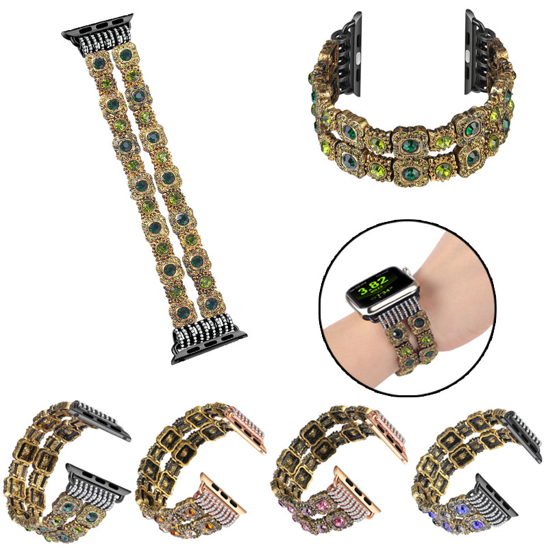 Luxury Dual Row Diamond Replacement WatchStrap for Apple Watch 38mm 42mm