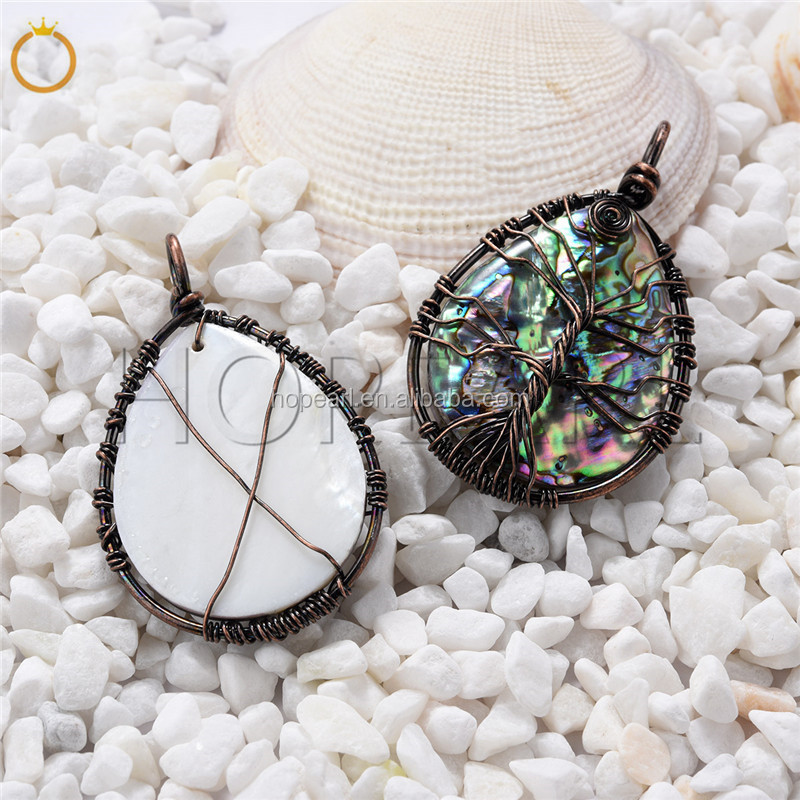 SPD202 Red Copper Wire Wrapped Tree of Life Teardrop Pendant Paua Natural Abalone Shell