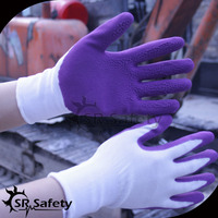 SRSAFETY purple foam latex coated kids protective gloves