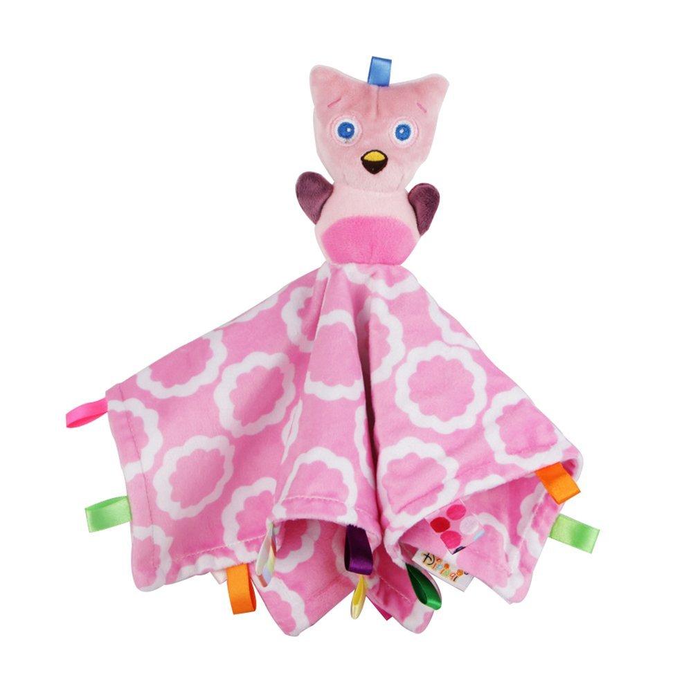 INCHANT Taggies Petals Owl Character Blanket Comforter Comfort Blanket -29cmX29cm (Pink)
