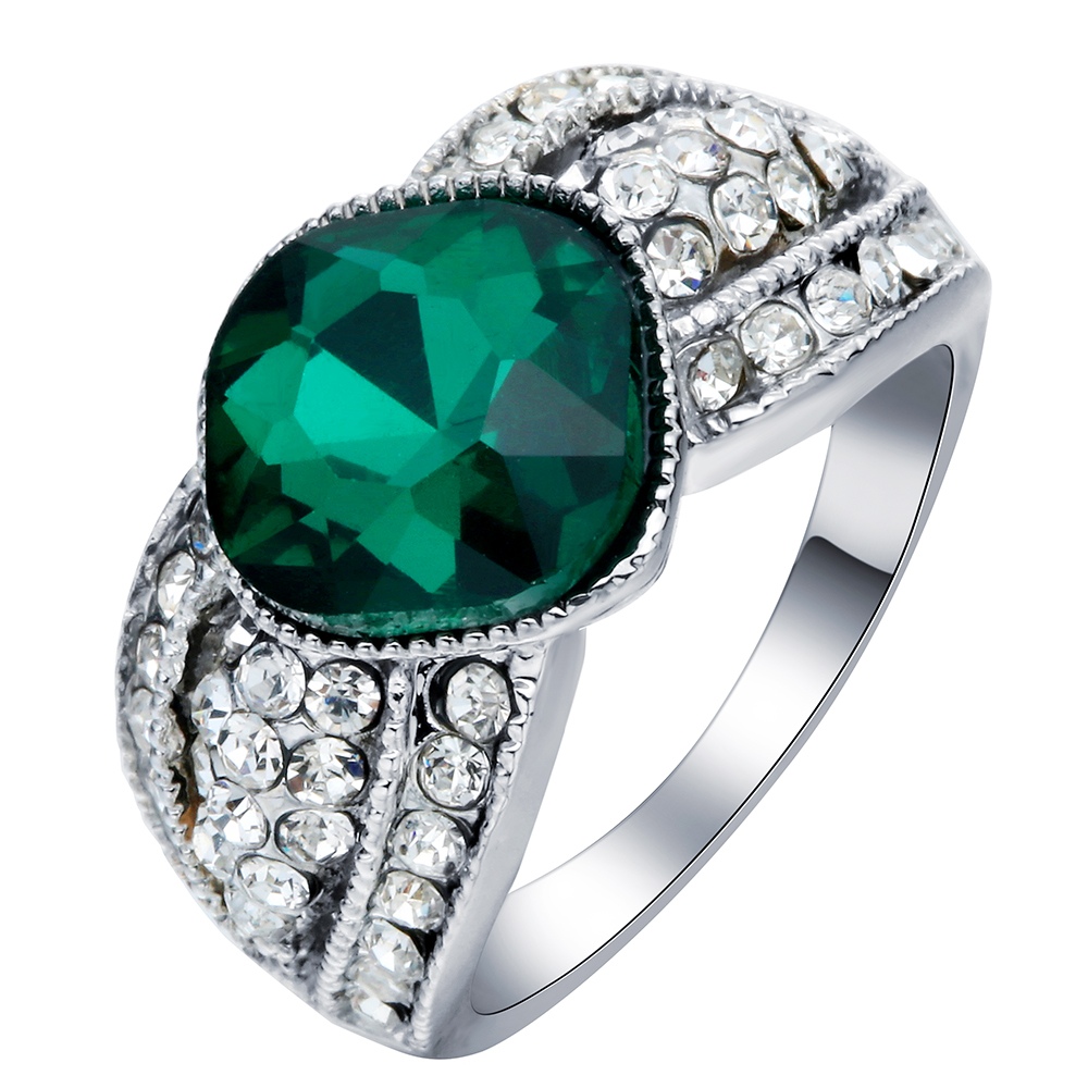 large green zircon indian engagement rings <strong>silver</strong> plated