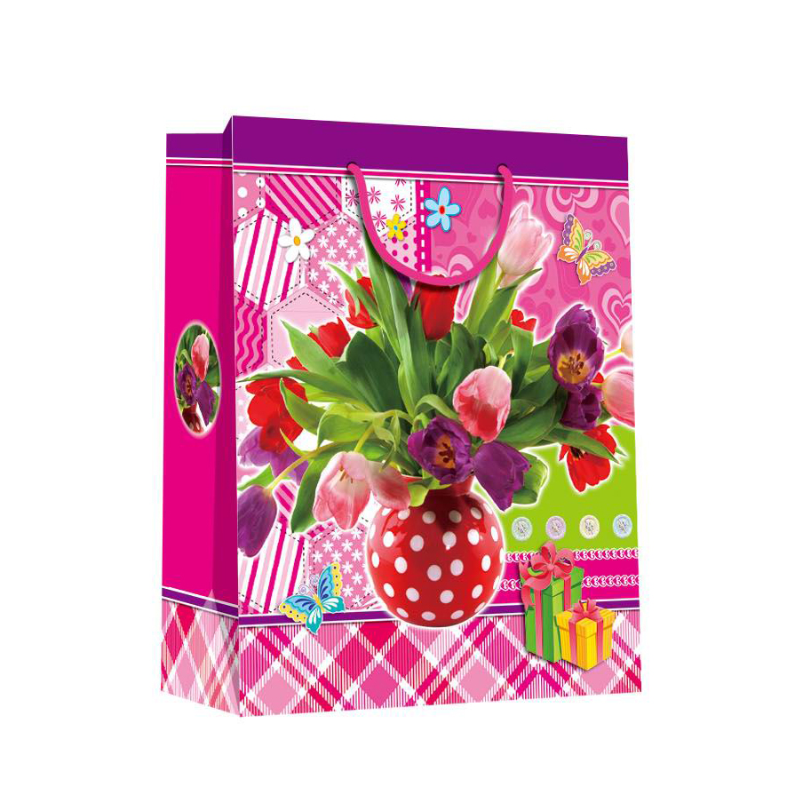 2019 Promotional Pink Eco-friendly Durable  Fancy Square Paper Shopping Bags For Women