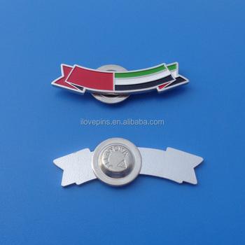 Country Flag Logo Engraved Metal Dubai Lapel Pin Emblems United Arab