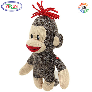 F675 Promotional Sock Monkey Knitting Animal Stuffed Toys Valentine Gifts Embroidery Heart Monkey Knitted Plush Dolls