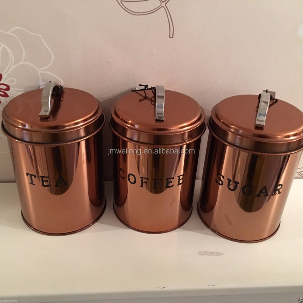 copper canister set kitchen copper effect retro food canisters amp bread bin storage set 16850